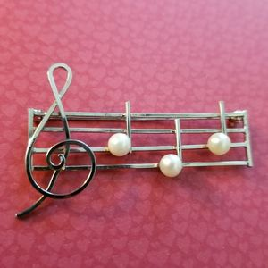 Vintage music notes and pearls brooch gold filled